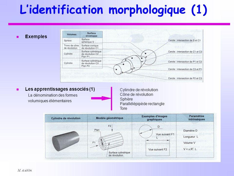 M. A.ublin Lidentification morphologique (1) n Exemples n Les apprentissages associés (1) La dénomination des formes volumiques élémentaires Cylindre