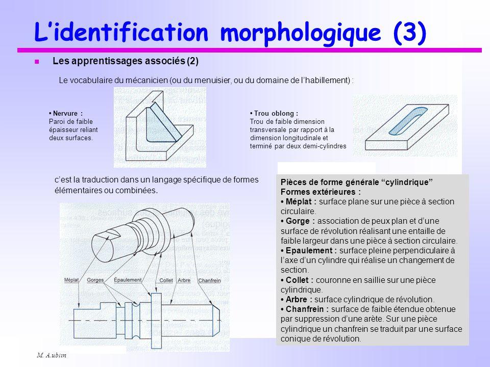 M. A.ublin Lidentification morphologique (3) n Les apprentissages associés (2) Le vocabulaire du mécanicien (ou du menuisier, ou du domaine de lhabill