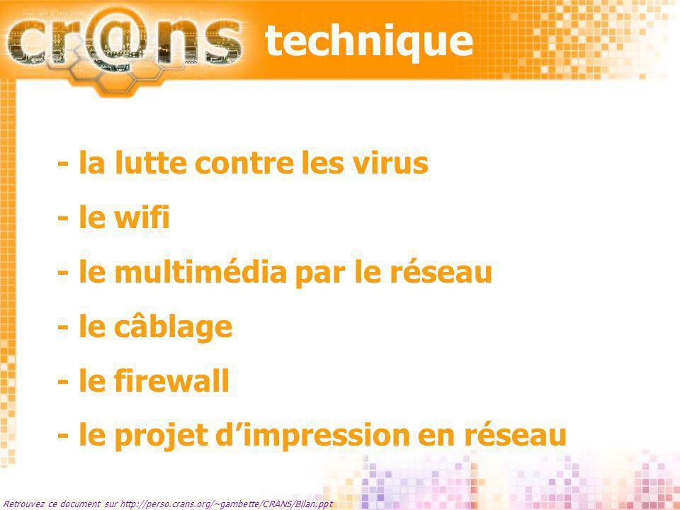technique Retrouvez ce document sur http://perso.crans.org/~gambette/CRANS/Bilan.ppt - la lutte contre les virus - le wifi - le multimédia par le rése