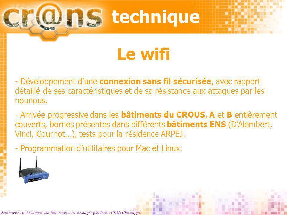 technique Retrouvez ce document sur http://perso.crans.org/~gambette/CRANS/Bilan.ppt Le wifi - Développement dune connexion sans fil sécurisée, avec r