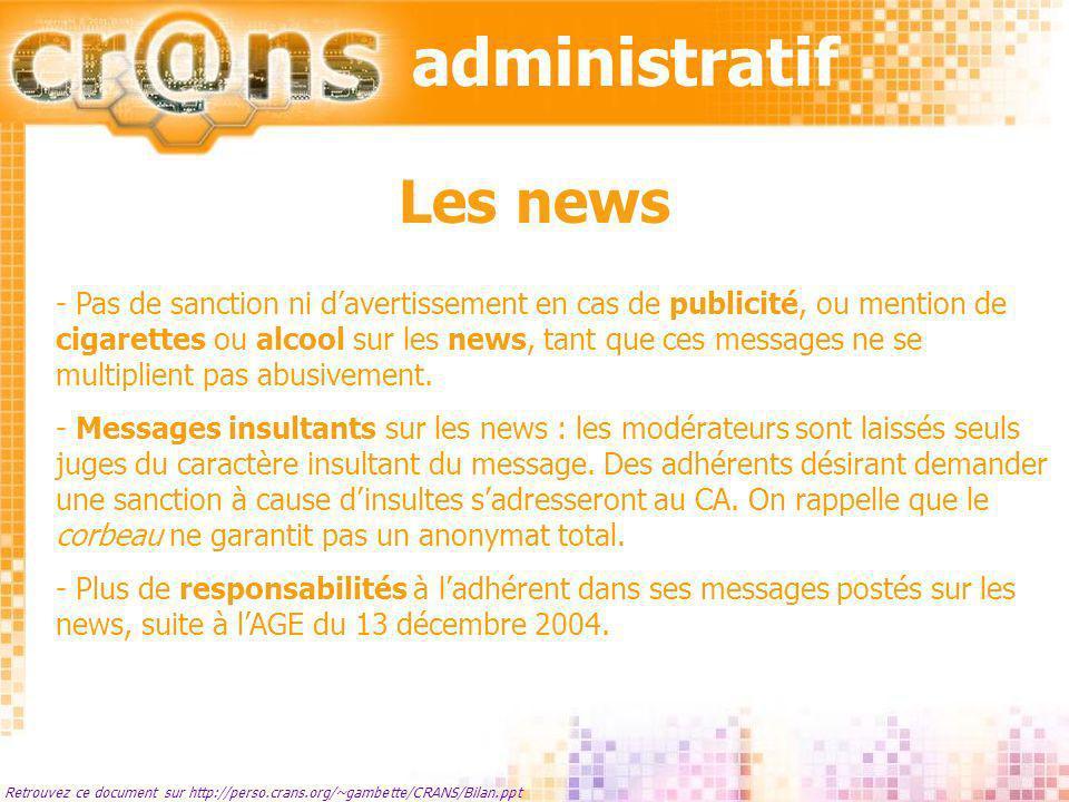 Retrouvez ce document sur http://perso.crans.org/~gambette/CRANS/Bilan.ppt Les news - Pas de sanction ni davertissement en cas de publicité, ou mentio