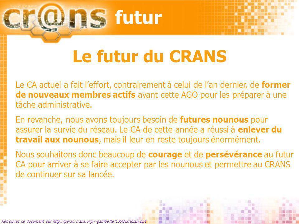 futur Retrouvez ce document sur http://perso.crans.org/~gambette/CRANS/Bilan.ppt Le futur du CRANS Le CA actuel a fait leffort, contrairement à celui