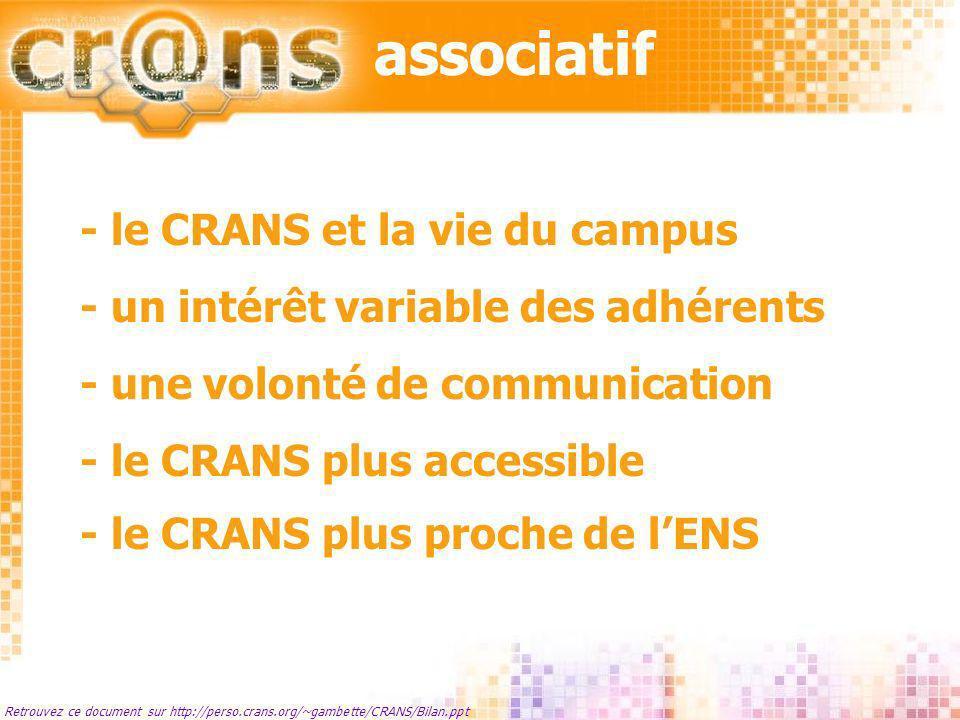 associatif Retrouvez ce document sur http://perso.crans.org/~gambette/CRANS/Bilan.ppt Le CRANS et la vie du campus - Une présence assurée dans les bus du WEI et sur place pour lanimation dun jeu.