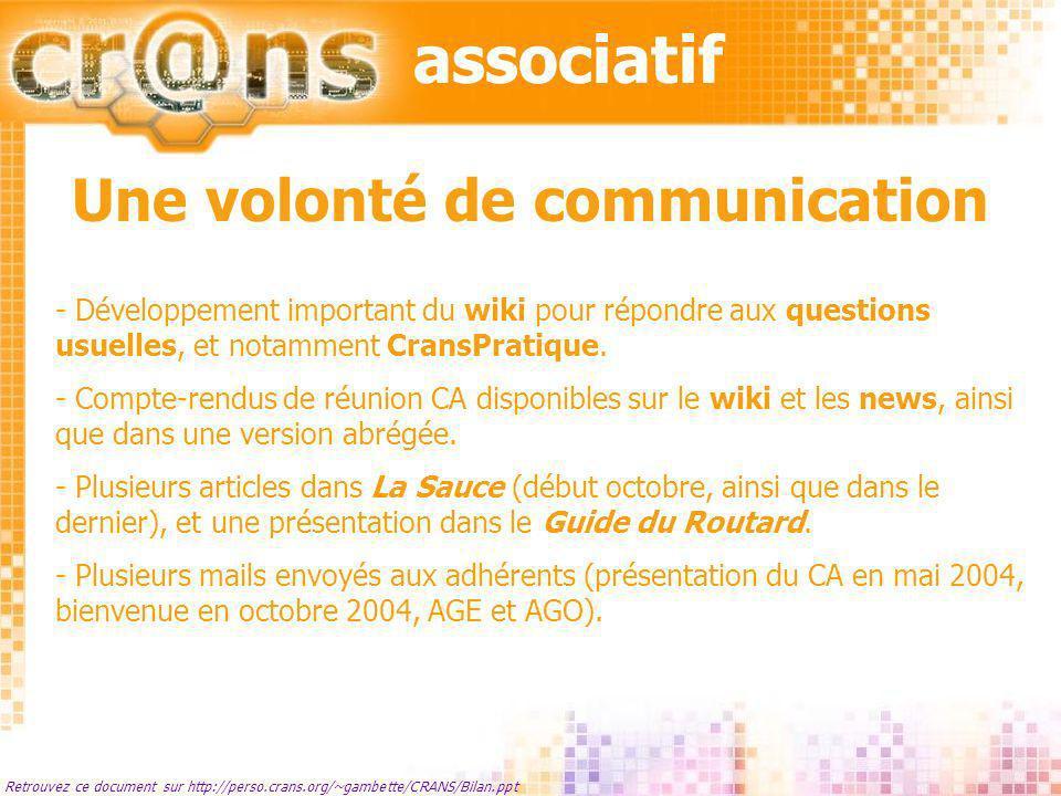 associatif Retrouvez ce document sur http://perso.crans.org/~gambette/CRANS/Bilan.ppt Une volonté de communication - Développement important du wiki p