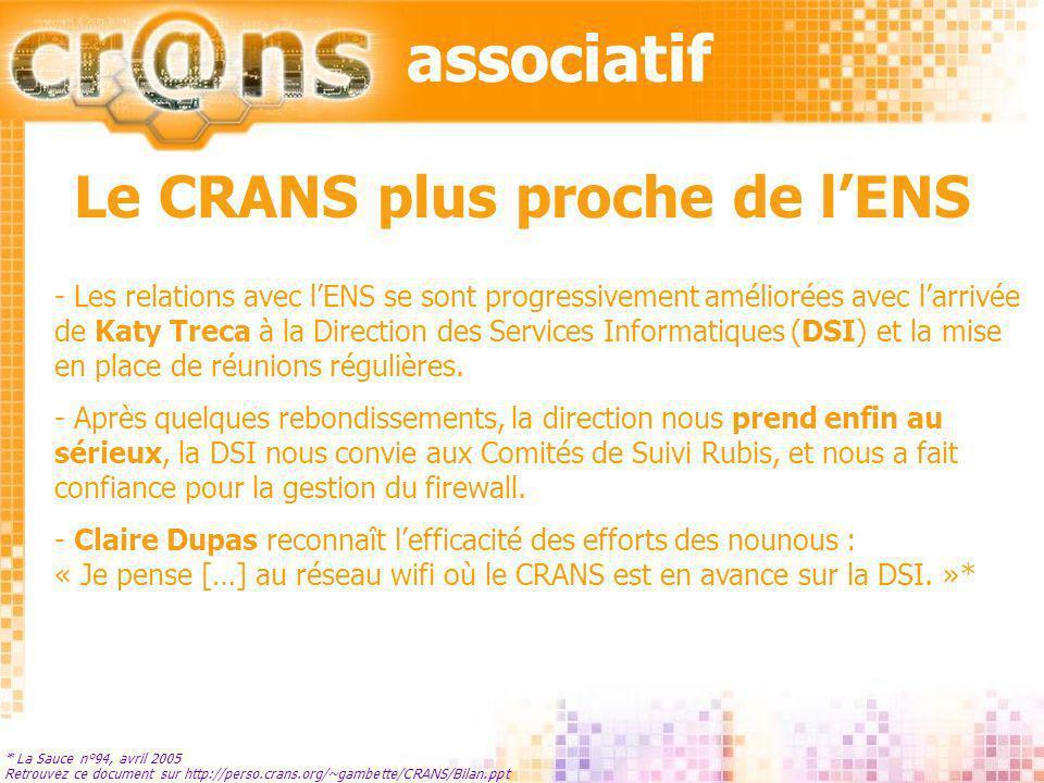 technique Retrouvez ce document sur http://perso.crans.org/~gambette/CRANS/Bilan.ppt - la lutte contre les virus - le wifi - le multimédia par le réseau - le câblage - le firewall - le projet dimpression en réseau