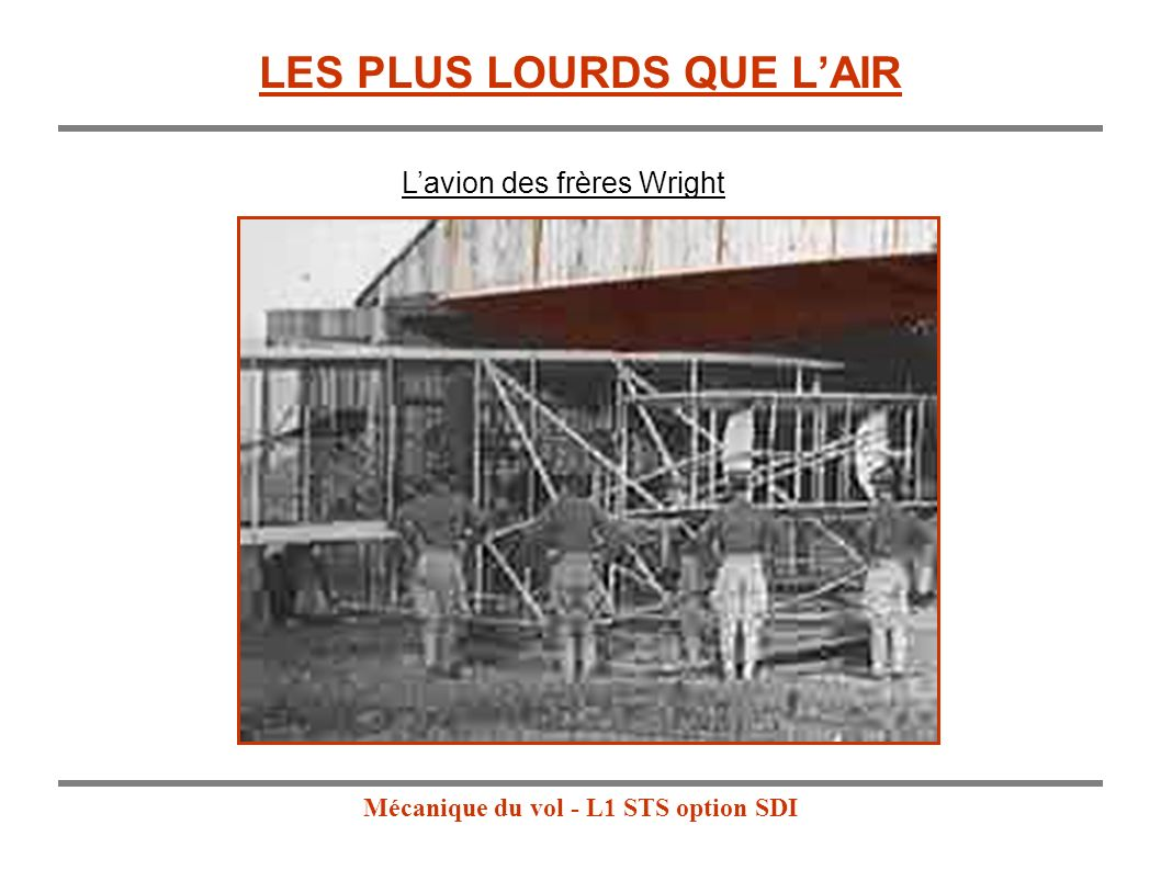 Mécanique du vol - L1 STS option SDI LES PLUS LOURDS QUE LAIR Lavion des frères Wright