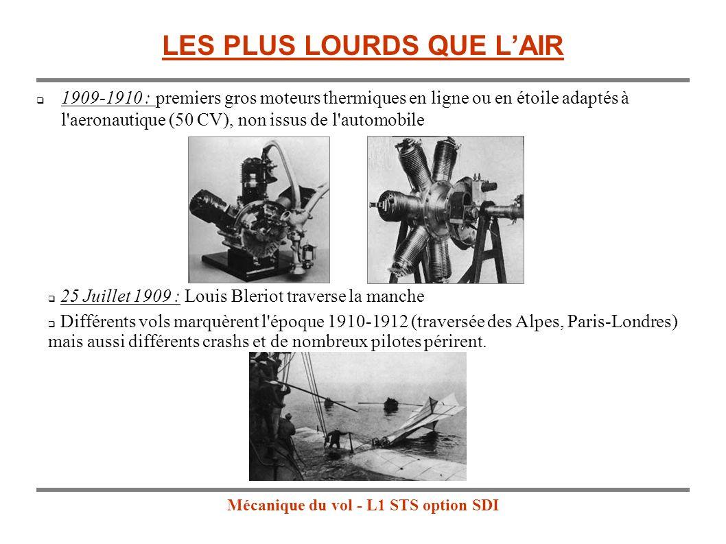 Mécanique du vol - L1 STS option SDI LES PLUS LOURDS QUE LAIR 1909-1910 : premiers gros moteurs thermiques en ligne ou en étoile adaptés à l aeronautique (50 CV), non issus de l automobile 25 Juillet 1909 : Louis Bleriot traverse la manche Différents vols marquèrent l époque 1910-1912 (traversée des Alpes, Paris-Londres) mais aussi différents crashs et de nombreux pilotes périrent.