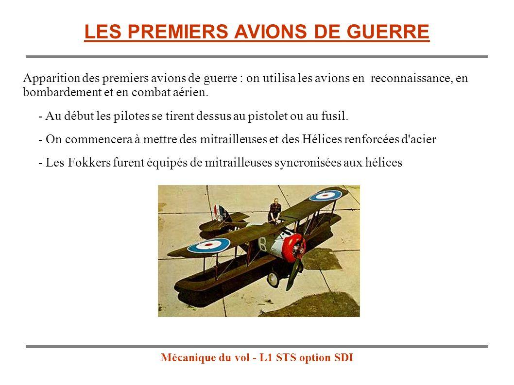 Mécanique du vol - L1 STS option SDI LES PREMIERS AVIONS DE GUERRE - Au début les pilotes se tirent dessus au pistolet ou au fusil.