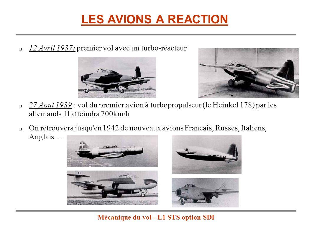 Mécanique du vol - L1 STS option SDI LES AVIONS A REACTION 12 Avril 1937: premier vol avec un turbo-réacteur 27 Aout 1939 : vol du premier avion à turbopropulseur (le Heinkel 178) par les allemands.