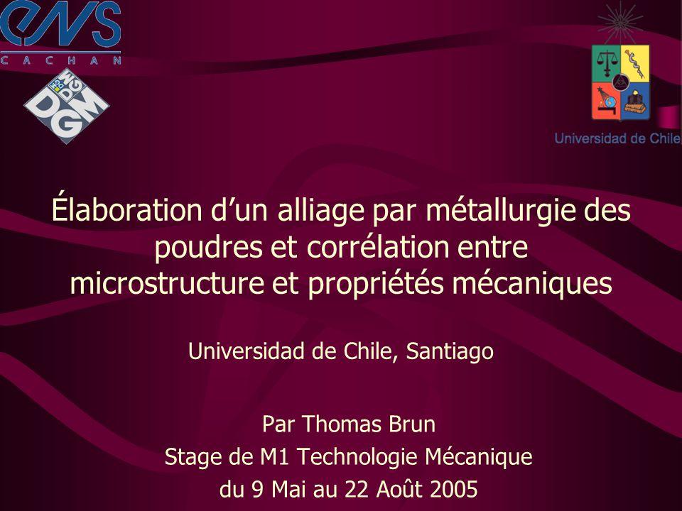 Élaboration dun alliage par métallurgie des poudres et corrélation entre microstructure et propriétés mécaniques Universidad de Chile, Santiago Par Thomas Brun Stage de M1 Technologie Mécanique du 9 Mai au 22 Août 2005