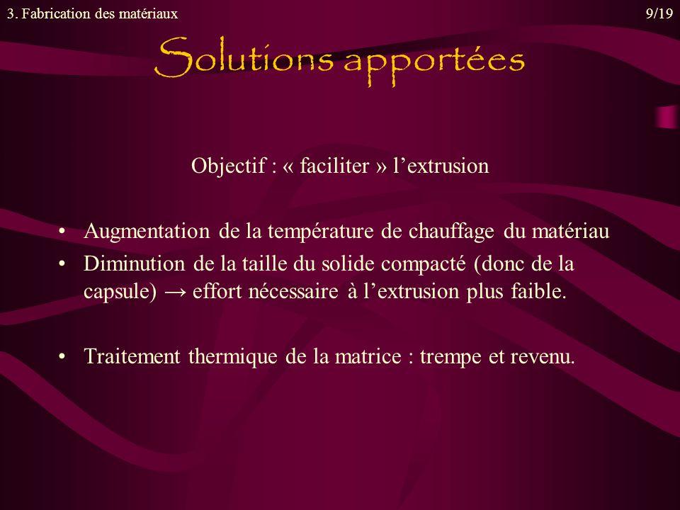 Objectif : « faciliter » lextrusion Augmentation de la température de chauffage du matériau Diminution de la taille du solide compacté (donc de la capsule) effort nécessaire à lextrusion plus faible.