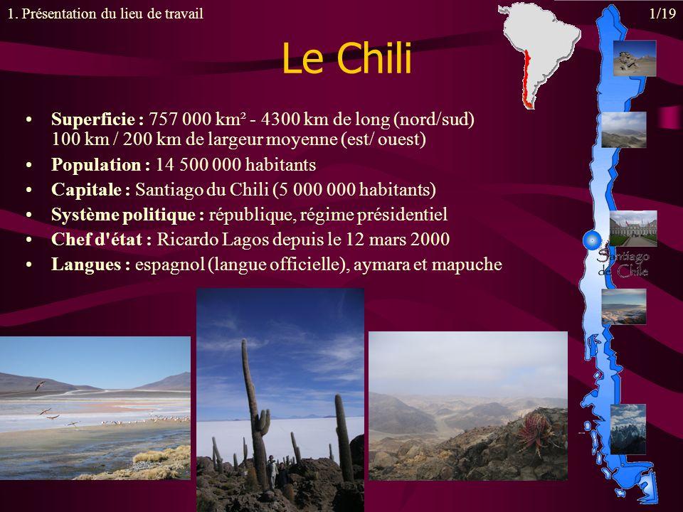 Le Chili Superficie : 757 000 km² - 4300 km de long (nord/sud) 100 km / 200 km de largeur moyenne (est/ ouest) Population : 14 500 000 habitants Capitale : Santiago du Chili (5 000 000 habitants) Système politique : république, régime présidentiel Chef d état : Ricardo Lagos depuis le 12 mars 2000 Langues : espagnol (langue officielle), aymara et mapuche 1.