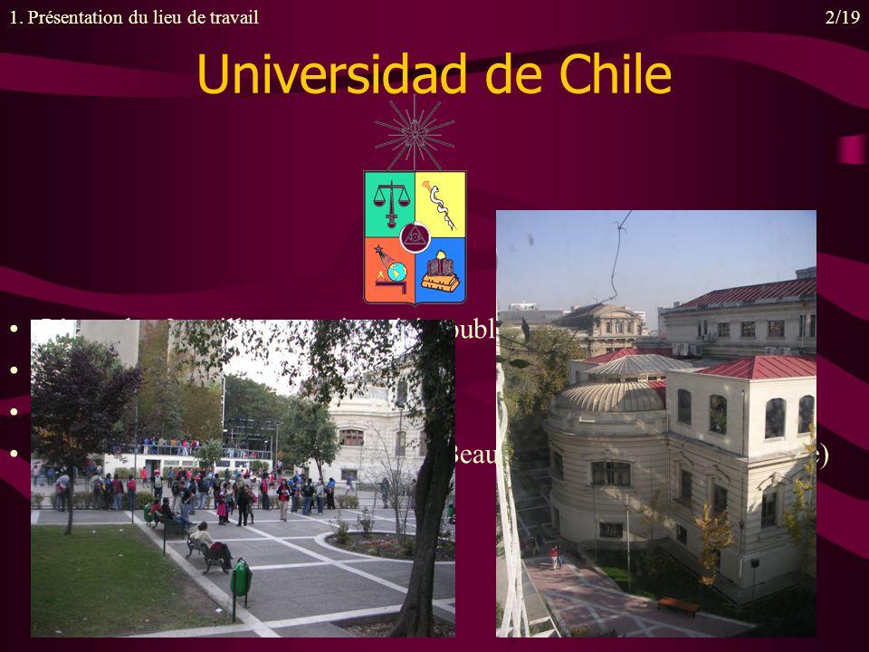 Universidad de Chile Lune des 3 meilleures universités publiques du Chili 162 ans dexistence 13 campus dans Santiago centre 1200 élèves sur le seul campus de Beauchef (physique et ingénierie) 1.