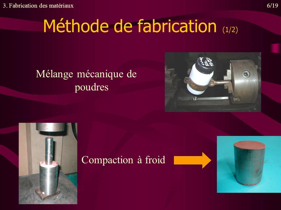 Mélange mécanique de poudres Méthode de fabrication (1/2) 3. Fabrication des matériaux6/19 Compaction à froid