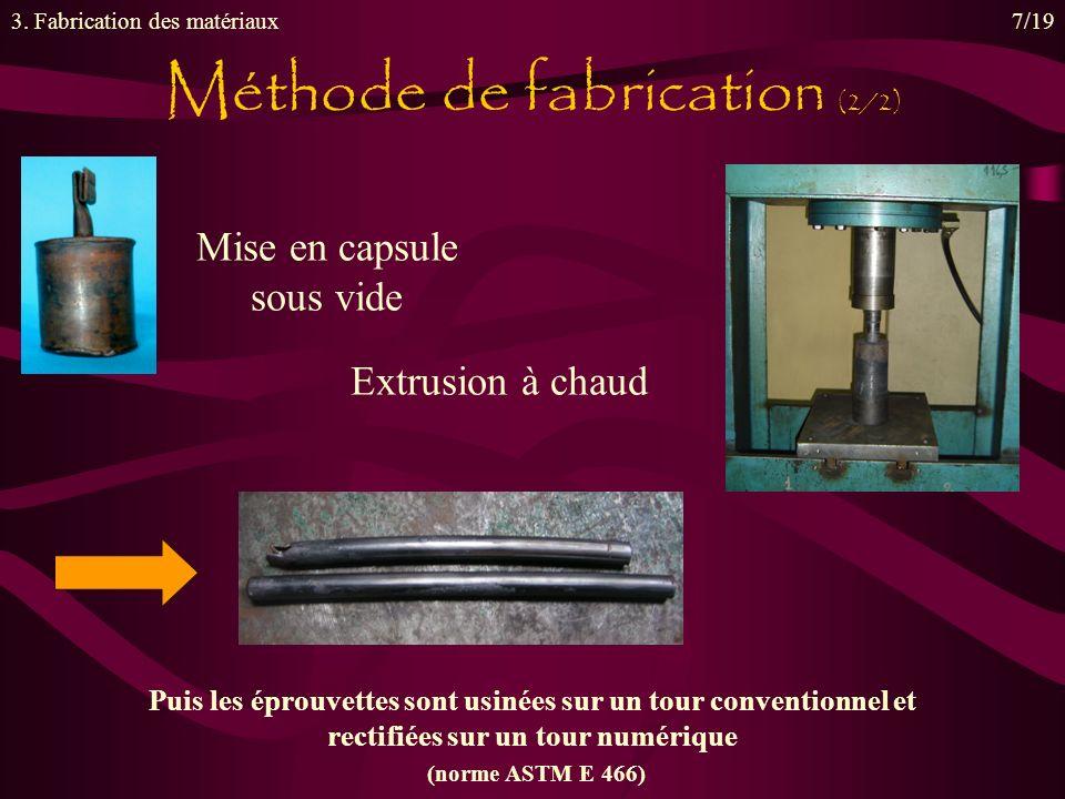 Extrusion à chaud Méthode de fabrication (2/2) 3. Fabrication des matériaux7/19 Mise en capsule sous vide Puis les éprouvettes sont usinées sur un tou