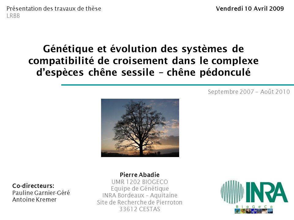 Génétique et évolution des systèmes de compatibilité de croisement dans le complexe despèces chêne sessile – chêne pédonculé Pierre Abadie UMR 1202 BI