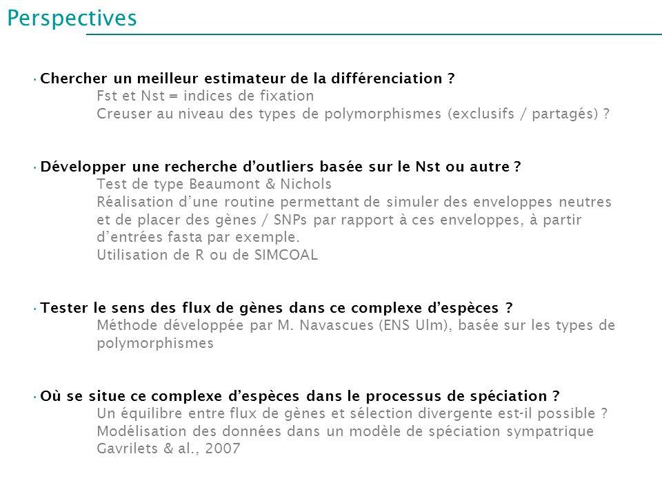 Perspectives Chercher un meilleur estimateur de la différenciation ? Fst et Nst = indices de fixation Creuser au niveau des types de polymorphismes (e