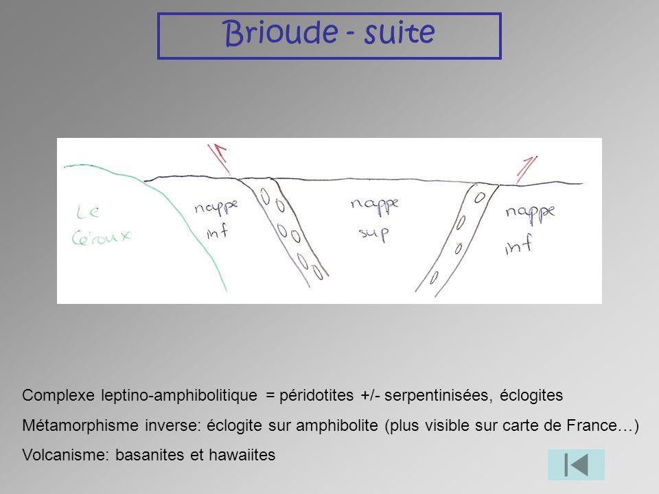 Brioude - suite Complexe leptino-amphibolitique = péridotites +/- serpentinisées, éclogites Métamorphisme inverse: éclogite sur amphibolite (plus visi