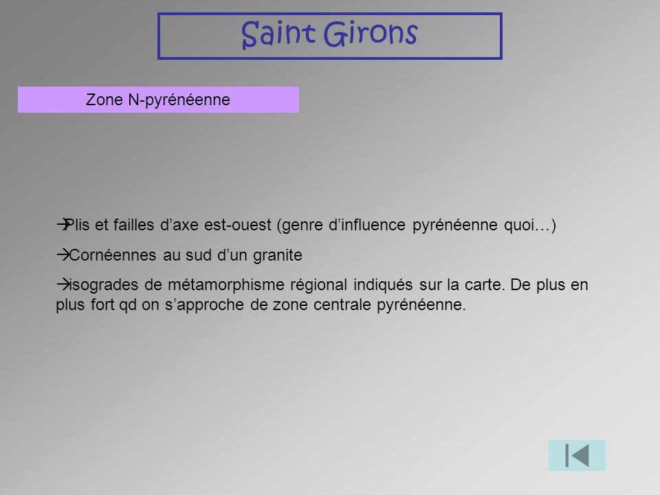 Saint Girons Zone N-pyrénéenne Plis et failles daxe est-ouest (genre dinfluence pyrénéenne quoi…) Cornéennes au sud dun granite isogrades de métamorph