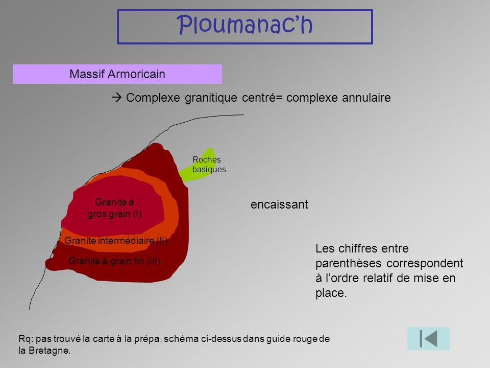 Ploumanach Massif Armoricain Complexe granitique centré= complexe annulaire Granite à gros grain (I) Granite intermédiaire (II) Granite à grain fin (I