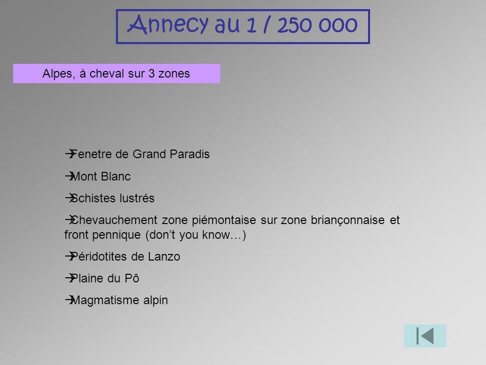 Annecy au 1 / 250 000 Alpes, à cheval sur 3 zones Fenetre de Grand Paradis Mont Blanc Schistes lustrés Chevauchement zone piémontaise sur zone brianço