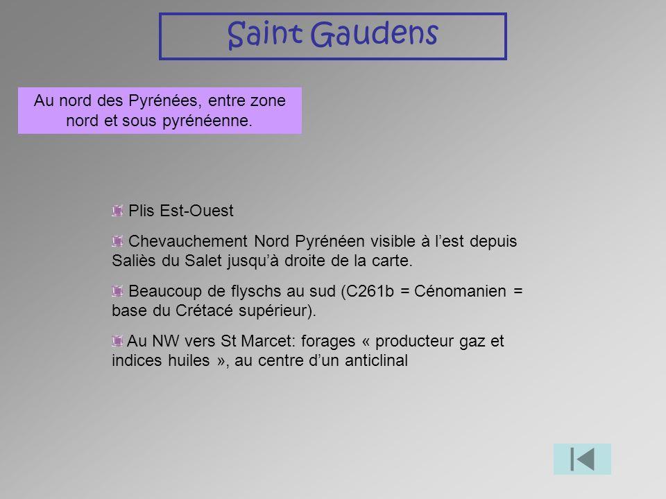 Saint Gaudens Au nord des Pyrénées, entre zone nord et sous pyrénéenne. Plis Est-Ouest Chevauchement Nord Pyrénéen visible à lest depuis Saliès du Sal