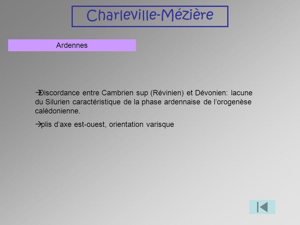 Charleville-Mézière Ardennes Discordance entre Cambrien sup (Révinien) et Dévonien: lacune du Silurien caractéristique de la phase ardennaise de lorog