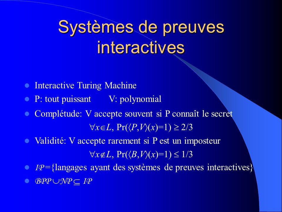 Systèmes de preuves interactives IP ={langages ayant des systèmes de preuves interactives} BPP NP IP Complétude: V accepte souvent si P connaît le sec
