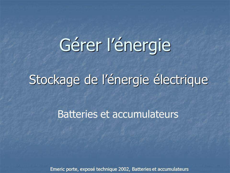 Gérer lénergie Stockage de lénergie électrique Batteries et accumulateurs Emeric porte, exposé technique 2002, Batteries et accumulateurs