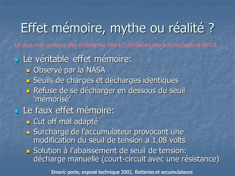 Effet mémoire, mythe ou réalité ? Le véritable effet mémoire: Le véritable effet mémoire: Observé par la NASA Observé par la NASA Seuils de charges et