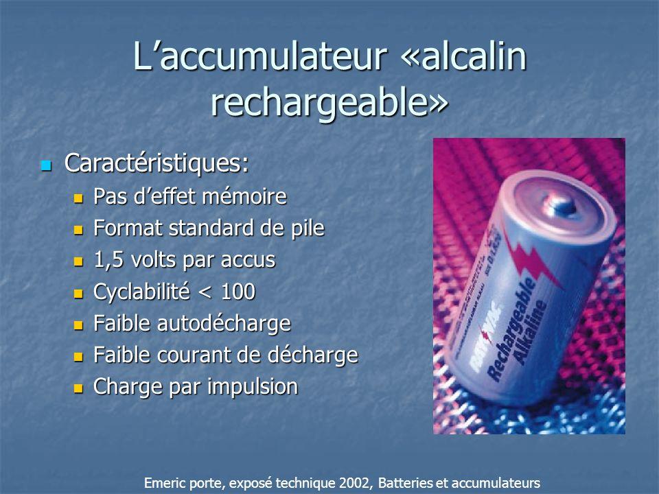 Laccumulateur «alcalin rechargeable» Caractéristiques: Caractéristiques: Pas deffet mémoire Pas deffet mémoire Format standard de pile Format standard