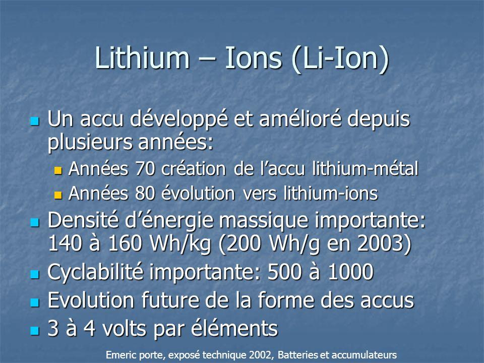 Lithium – Ions (Li-Ion) Un accu développé et amélioré depuis plusieurs années: Un accu développé et amélioré depuis plusieurs années: Années 70 créati