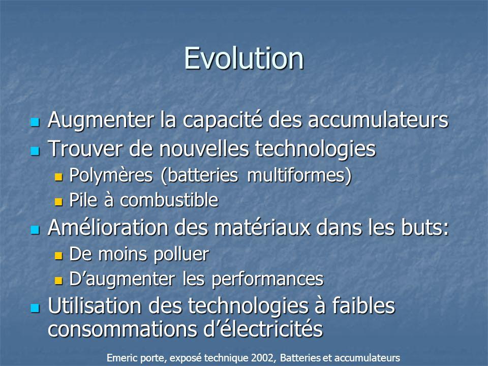 Evolution Augmenter la capacité des accumulateurs Augmenter la capacité des accumulateurs Trouver de nouvelles technologies Trouver de nouvelles techn