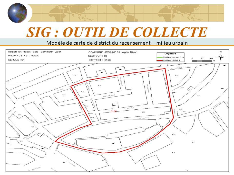 14 SIG : OUTIL DE COLLECTE Modèle de carte de district du recensement – milieu urbain