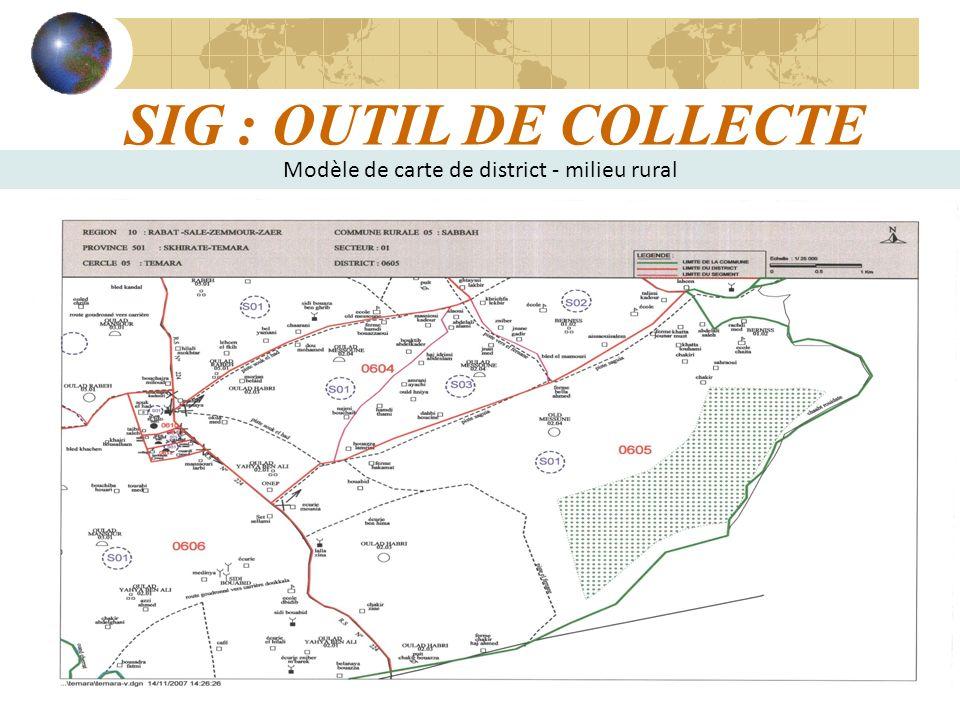 16 SIG : OUTIL DE COLLECTE Modèle de carte de district - milieu rural