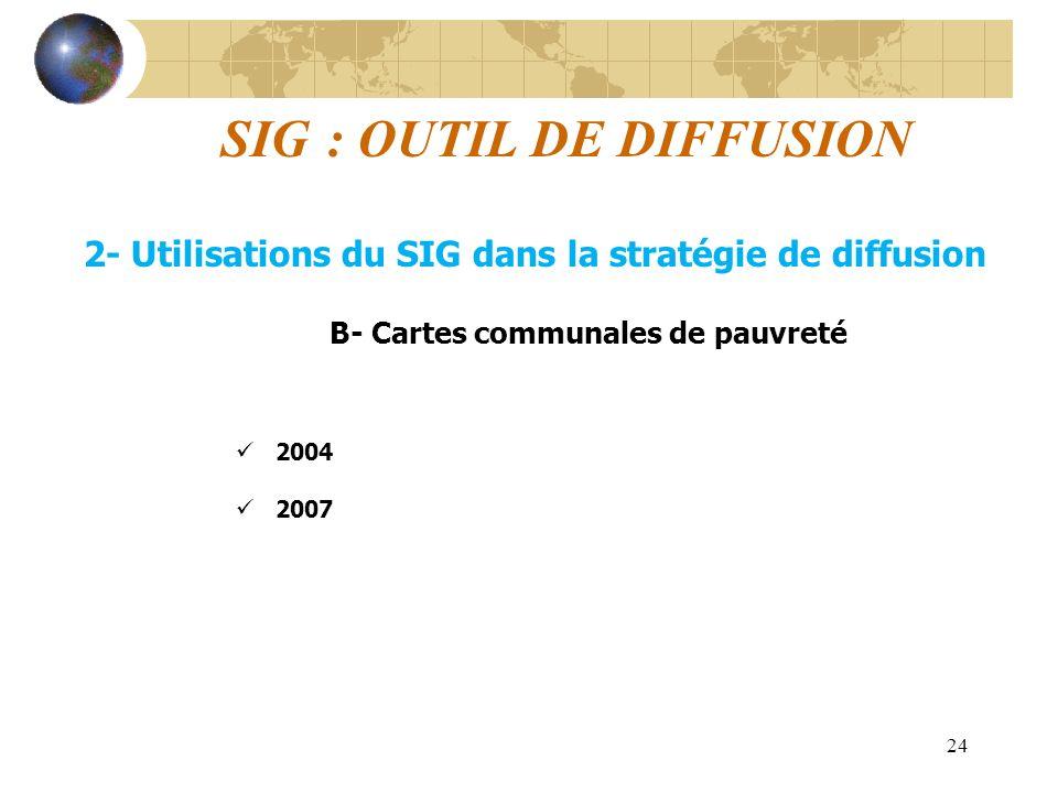 24 SIG : OUTIL DE DIFFUSION 2- Utilisations du SIG dans la stratégie de diffusion B- Cartes communales de pauvreté 2004 2007