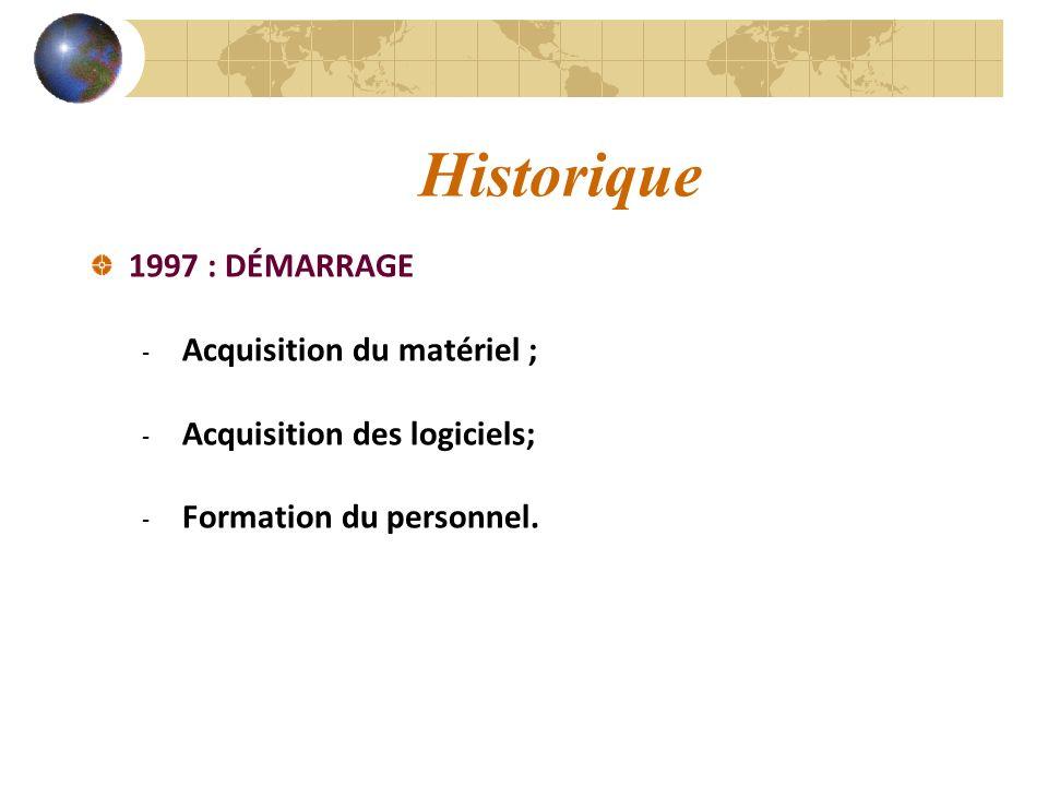 Historique 1997 : DÉMARRAGE - Acquisition du matériel ; - Acquisition des logiciels; - Formation du personnel.