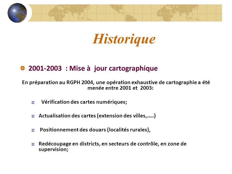2001-2003 : Mise à jour cartographique En préparation au RGPH 2004, une opération exhaustive de cartographie a été menée entre 2001 et 2003: Vérificat