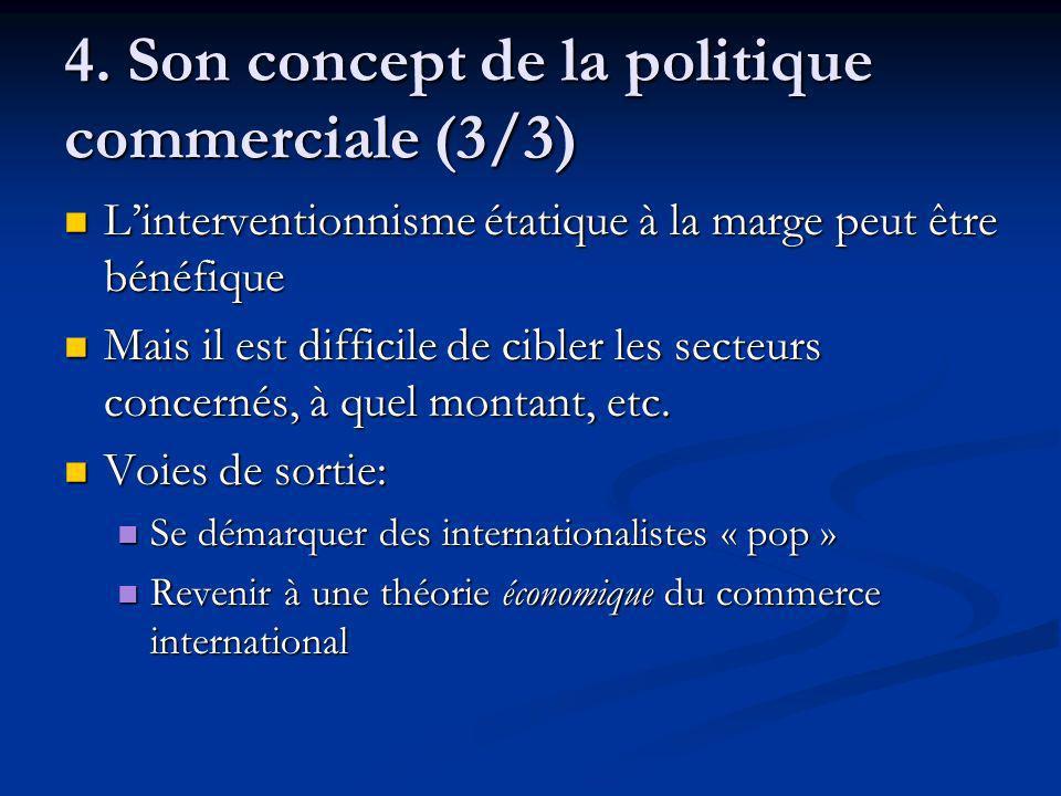 4. Son concept de la politique commerciale (3/3) Linterventionnisme étatique à la marge peut être bénéfique Linterventionnisme étatique à la marge peu