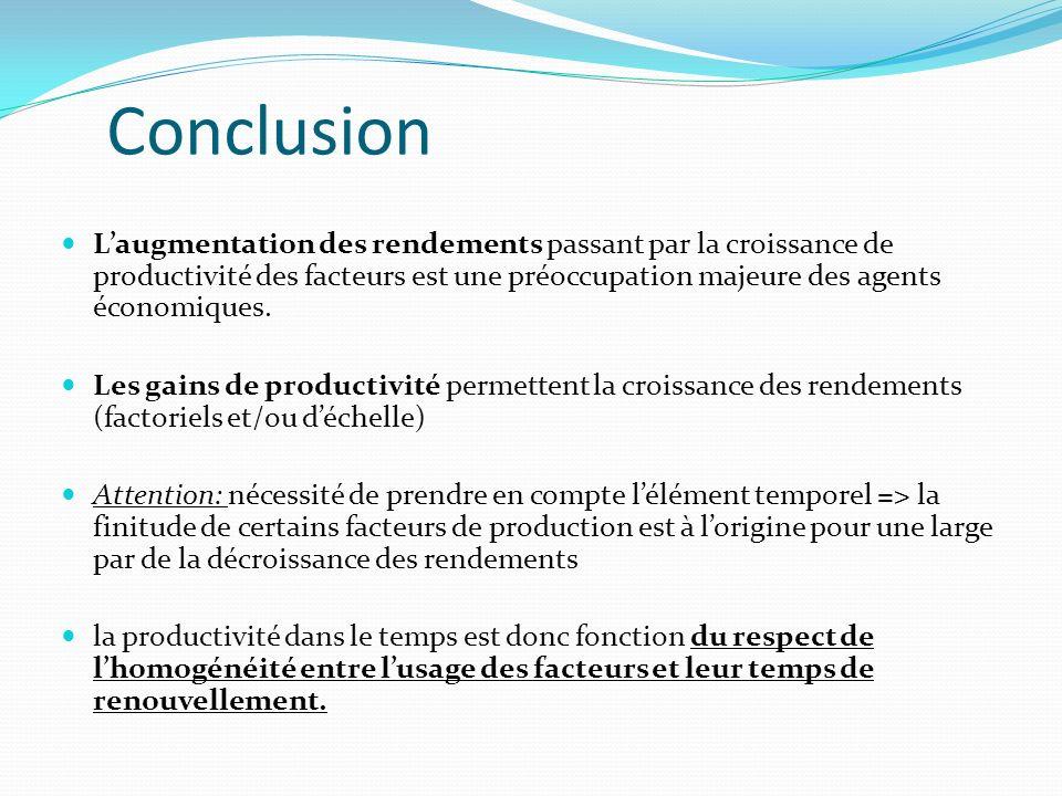 Conclusion Laugmentation des rendements passant par la croissance de productivité des facteurs est une préoccupation majeure des agents économiques. L