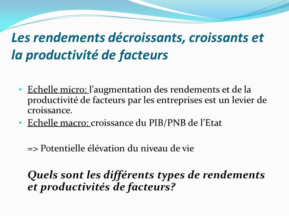 Les rendements décroissants, croissants et la productivité de facteurs Echelle micro: laugmentation des rendements et de la productivité de facteurs p