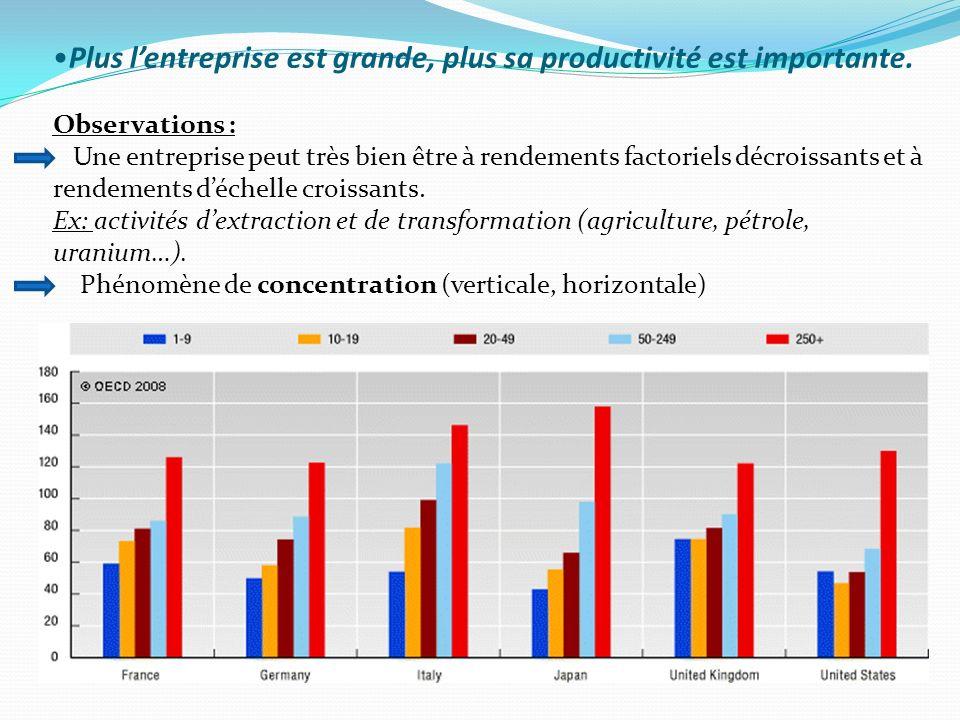 Plus lentreprise est grande, plus sa productivité est importante. Observations : Une entreprise peut très bien être à rendements factoriels décroissan