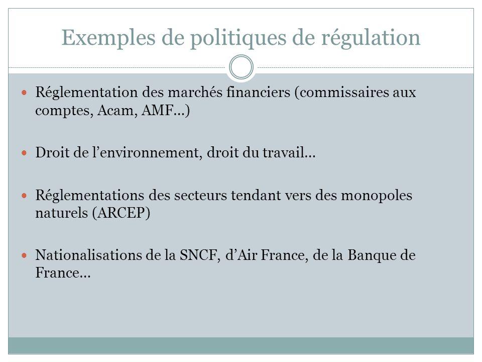 Exemples de politiques de régulation Réglementation des marchés financiers (commissaires aux comptes, Acam, AMF…) Droit de lenvironnement, droit du tr