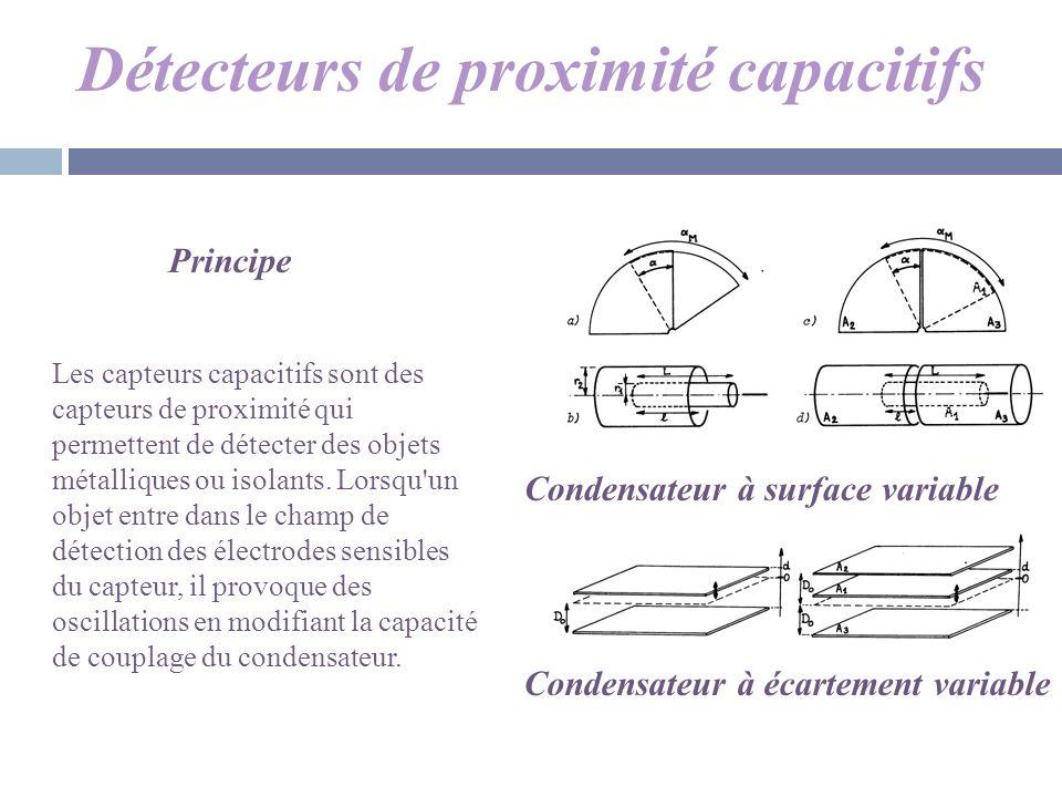 Détecteurs de proximité capacitifs Condensateur à surface variable Condensateur à écartement variable Principe Les capteurs capacitifs sont des capteu
