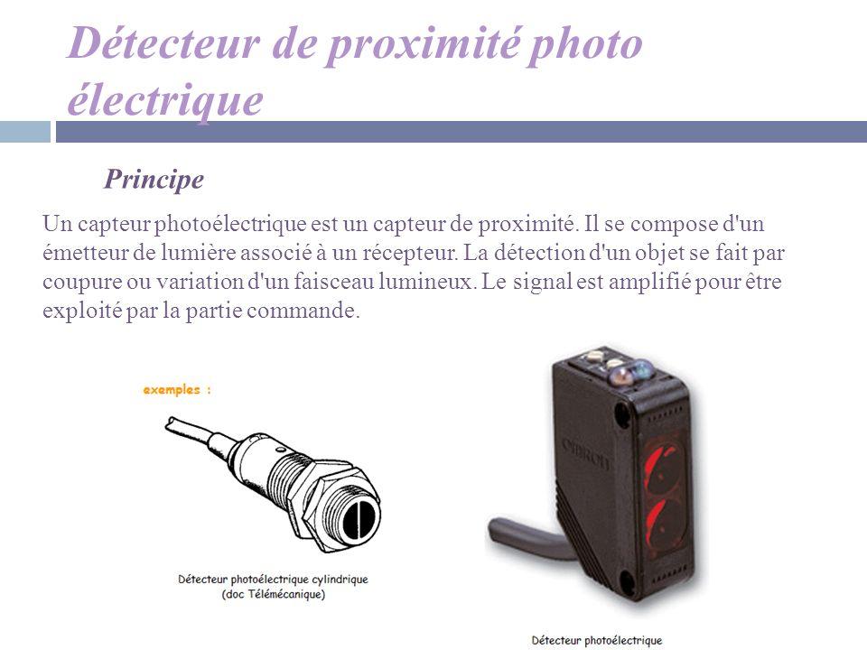Détecteur de proximité photo électrique Principe Un capteur photoélectrique est un capteur de proximité. Il se compose d'un émetteur de lumière associ