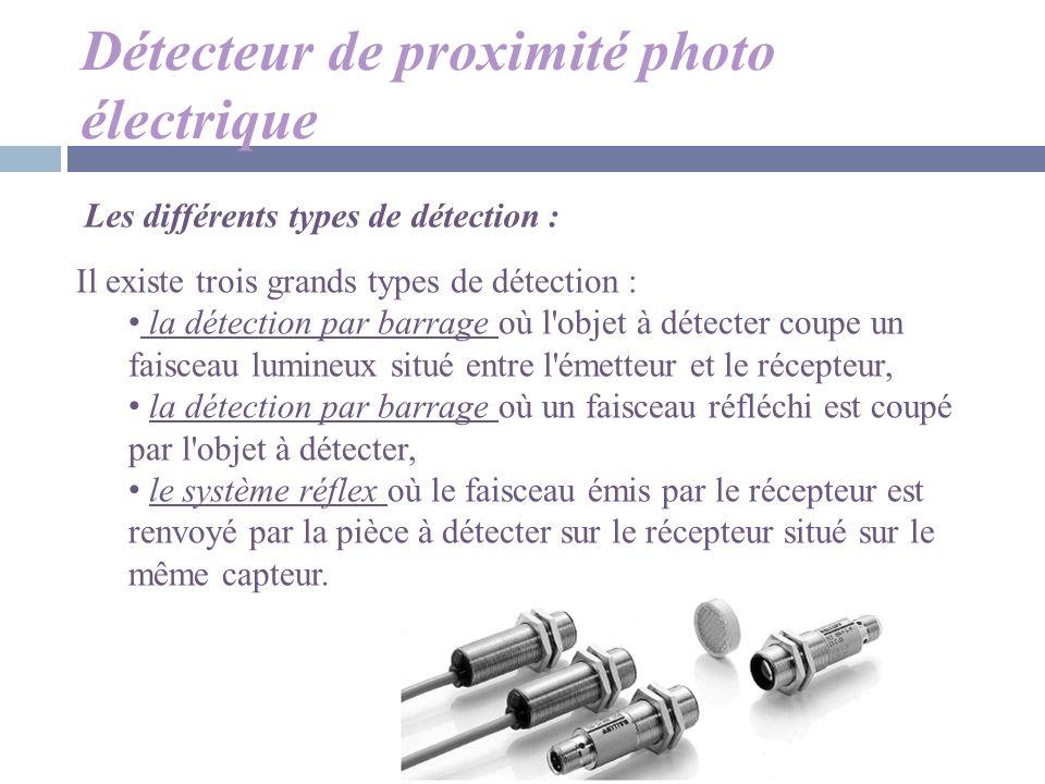 Détecteur de proximité photo électrique Il existe trois grands types de détection : la détection par barrage où l'objet à détecter coupe un faisceau l