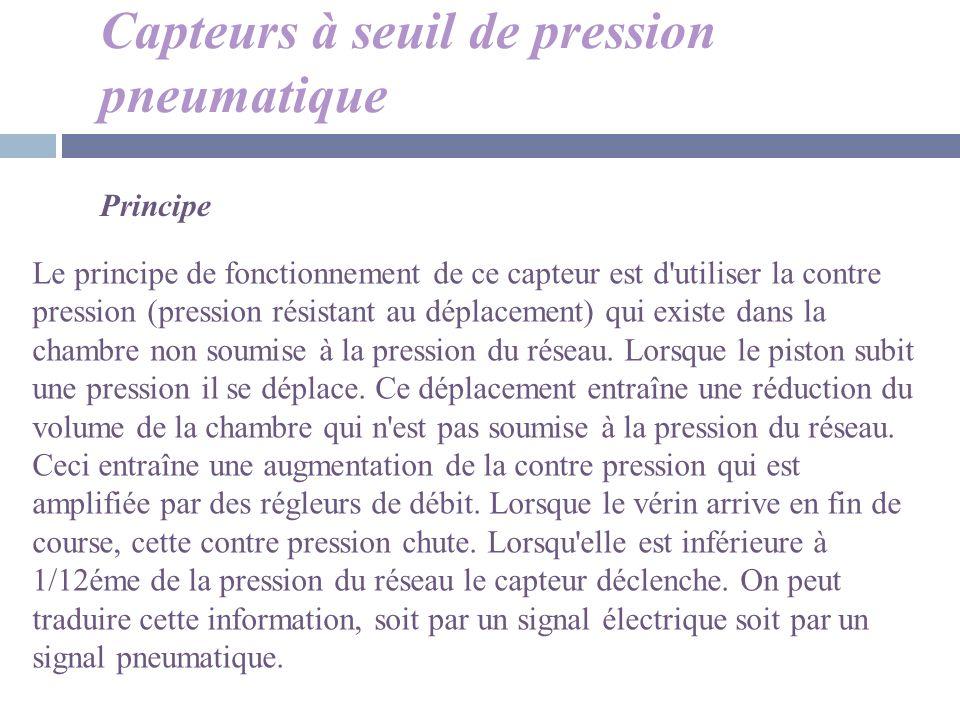 Capteurs à seuil de pression pneumatique Principe Le principe de fonctionnement de ce capteur est d'utiliser la contre pression (pression résistant au