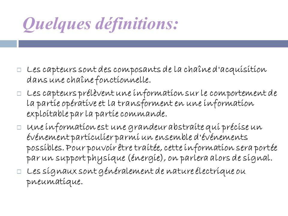 Quelques définitions: Les capteurs sont des composants de la chaîne d'acquisition dans une chaîne fonctionnelle. Les capteurs prélèvent une informatio