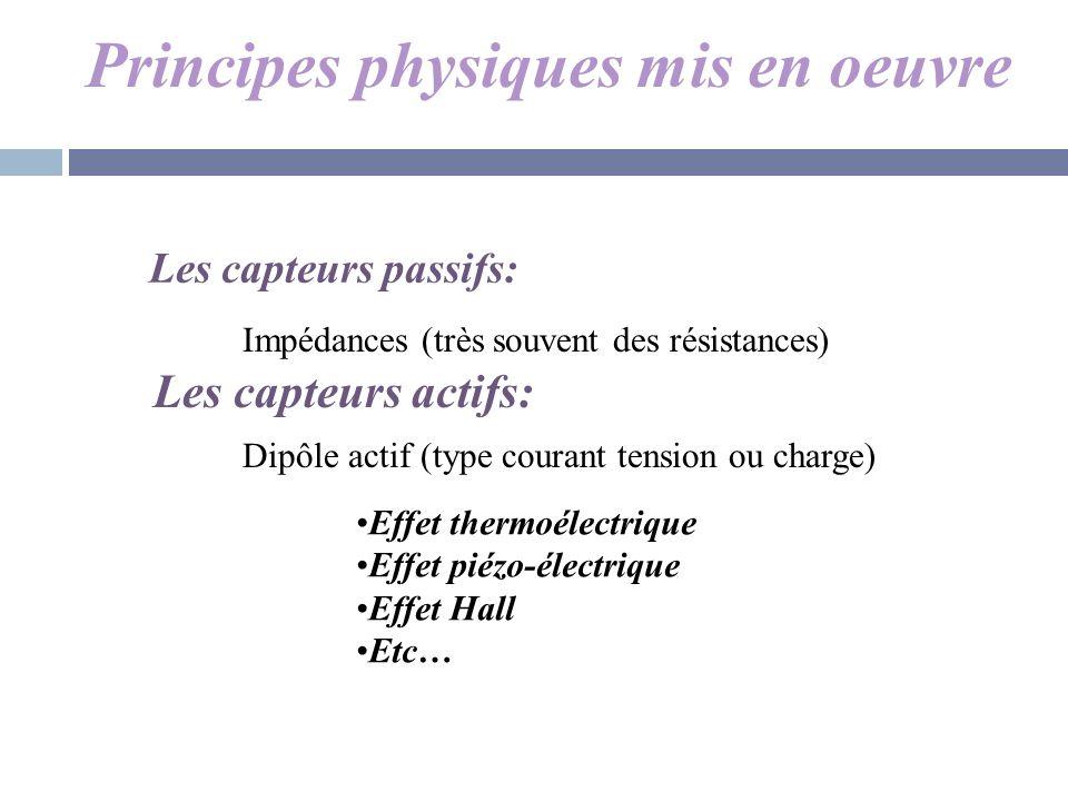 Principes physiques mis en oeuvre Les capteurs passifs: Les capteurs actifs: Impédances (très souvent des résistances) Dipôle actif (type courant tens