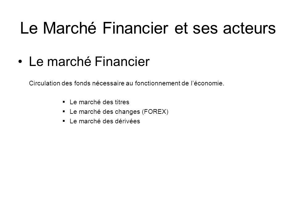 Le Marché Financier et ses acteurs Le marché Financier Circulation des fonds nécessaire au fonctionnement de léconomie. Le marché des titres Le marché